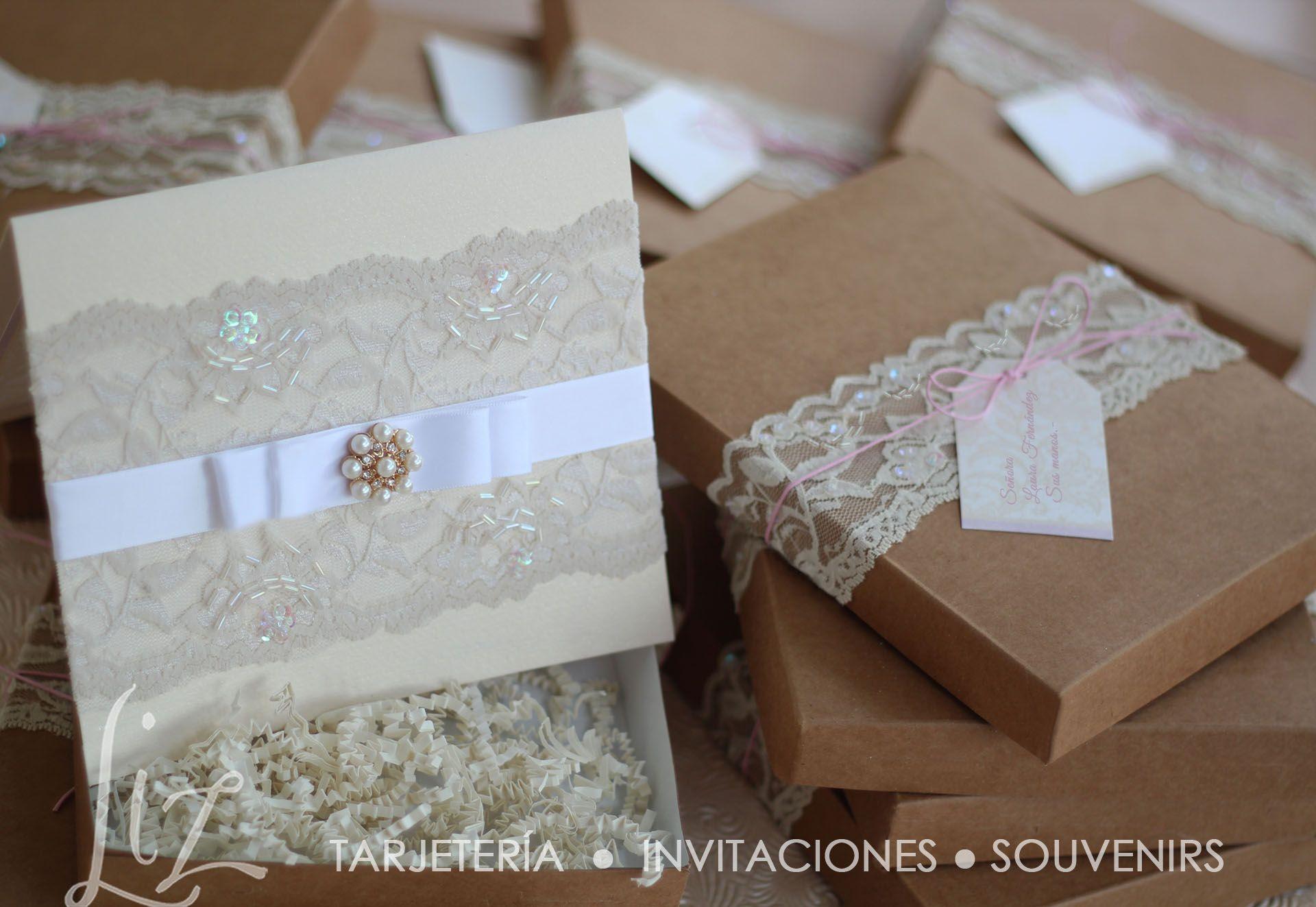 Vintage Cream Marfil Encaje Diamante Bling invitación de boda ♡♡ Personalizado