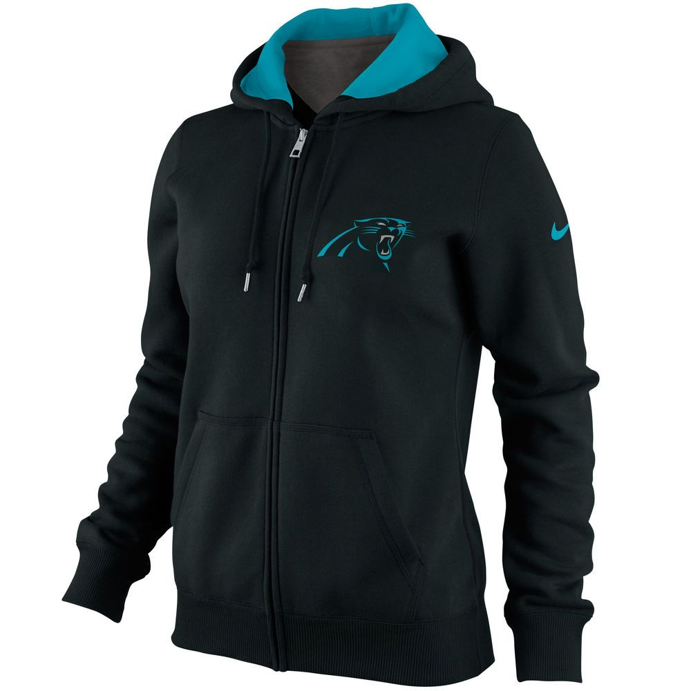 nike carolina panthers womenu0027s tailgater full zip hoodie black - Carolina Panthers Merchandise