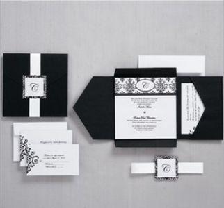 DIY Wedding Invitations with Black Scroll Monogram