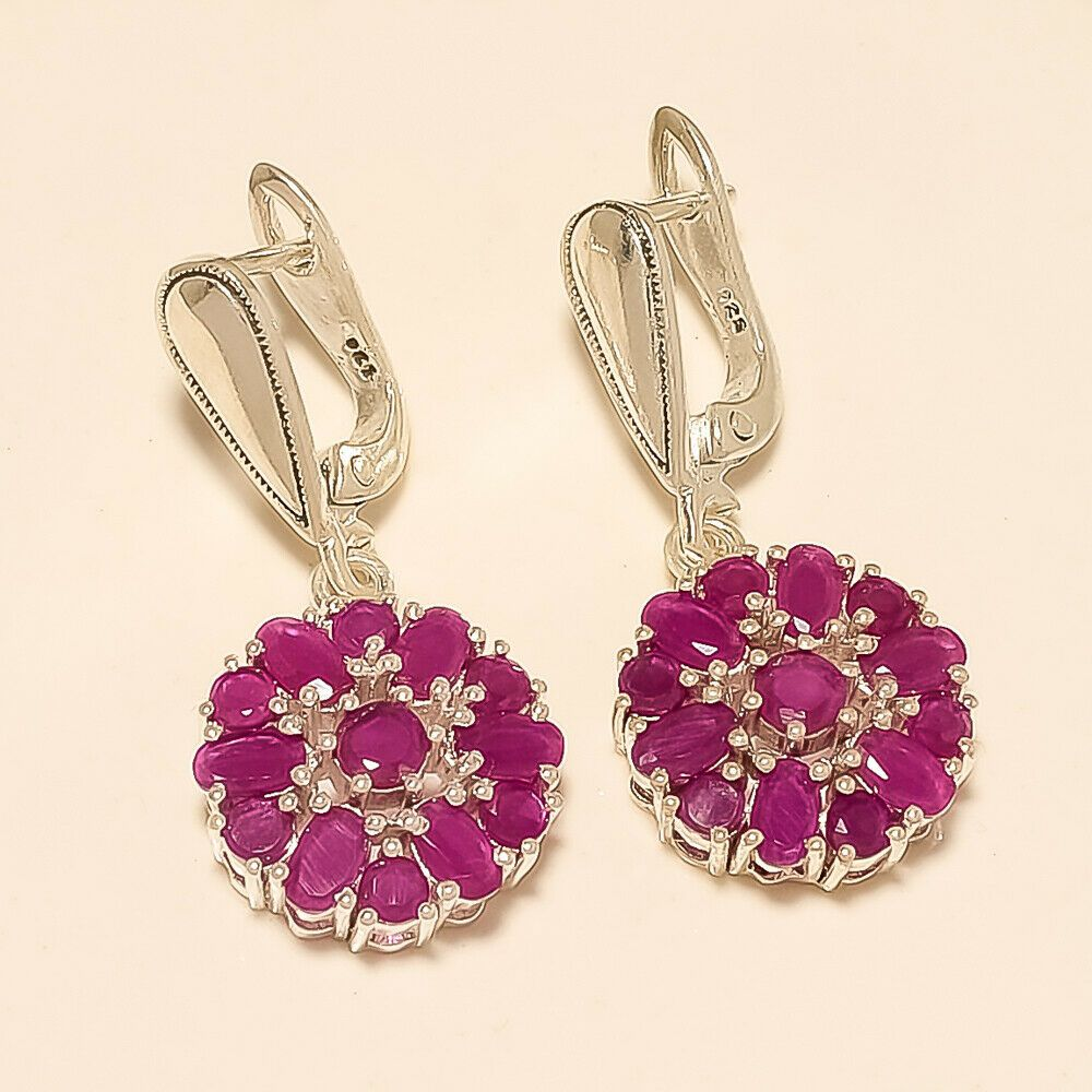 Easter birthday gift Earrings pearl emerald ruby sapphire in silver plated