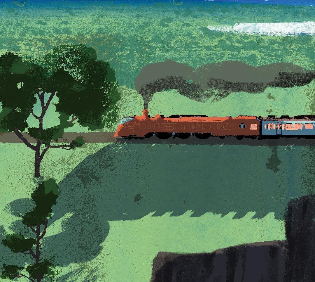 WIP #illustration #painting #tatsurokiuchi #art #drawing #life #lifestyle #happy #japan #people #木内達朗 #イラスト #イラストレーション #locomotive