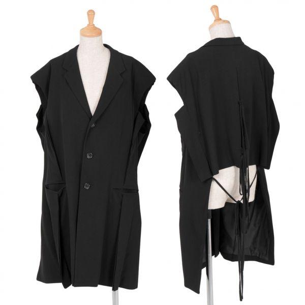ヨウジヤマモト ファムyohji yamamoto femme デザインノースリーブウールギャバロングジャケット 黒S