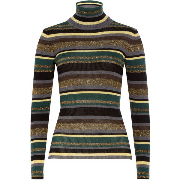 Emilio Pucci Striped Wool Turtleneck Pullover ($415) ❤ liked on Polyvore  featuring tops,