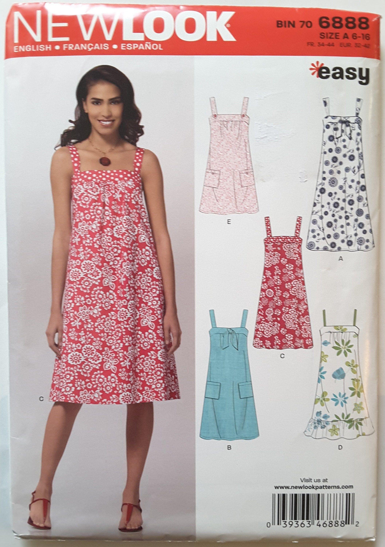 New Look 6888 Summer Dress Resort Vacation Beach Wear Etsy Dress Sewing Patterns Pattern Dress Women New Look Dress Patterns [ 3000 x 2113 Pixel ]