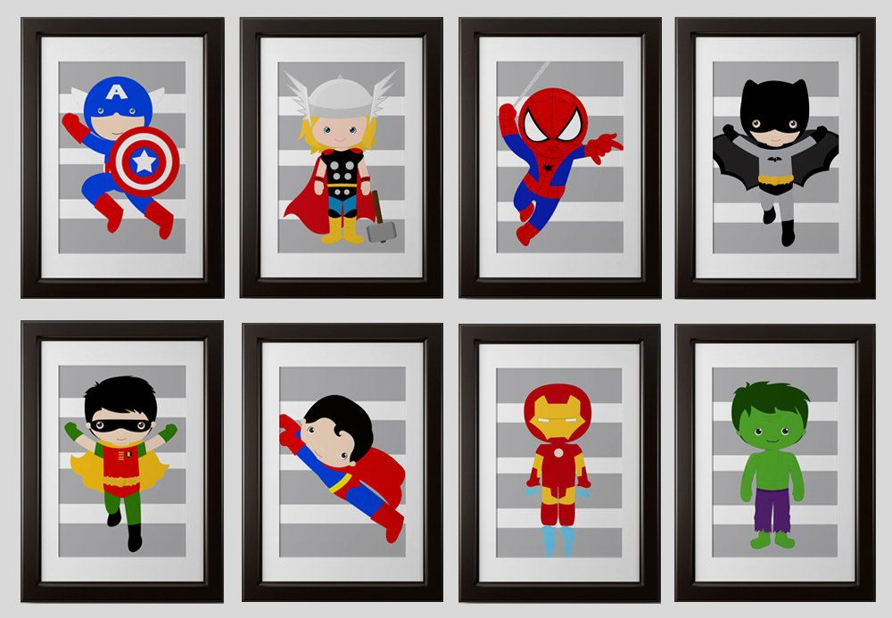 Superhero wall art PRINTS, super hero wall decor, set of 4, 8x10 ...