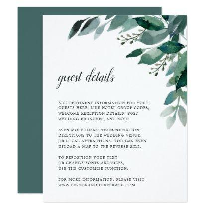 Abundant Foliage Wedding Guest Details Card Zazzle Com Foliage Wedding Watercolor Wedding Invitations Wedding Details Card