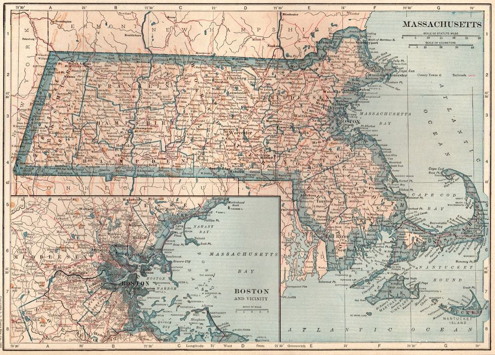 1925 Antique MASSACHUSETTS Map VINTAGE State Map of Massachusetts