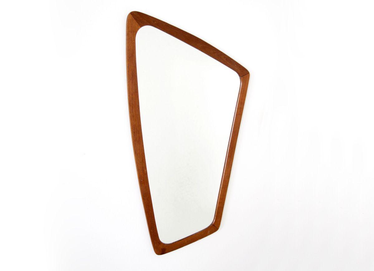 Spiegel Staand Zwart : Vintage teakhouten deens design spiegel asymmetrisch paradijs