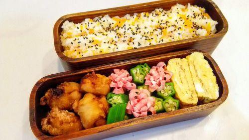posted by @hiroko_13d 今日のお弁当キャロットライス唐揚げ茹でオクラお花ハム玉子焼き#お弁当...