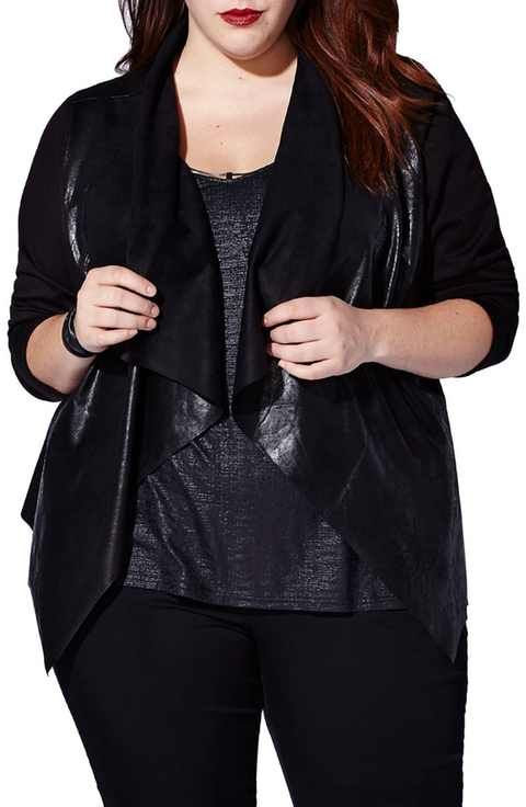 mblm by Tess Holliday Coated Ponte Cascade Front Jacket (Plus Size)