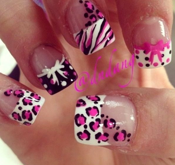 Nice Nice Pink White And Black French Tip Nail Art Designs Nail