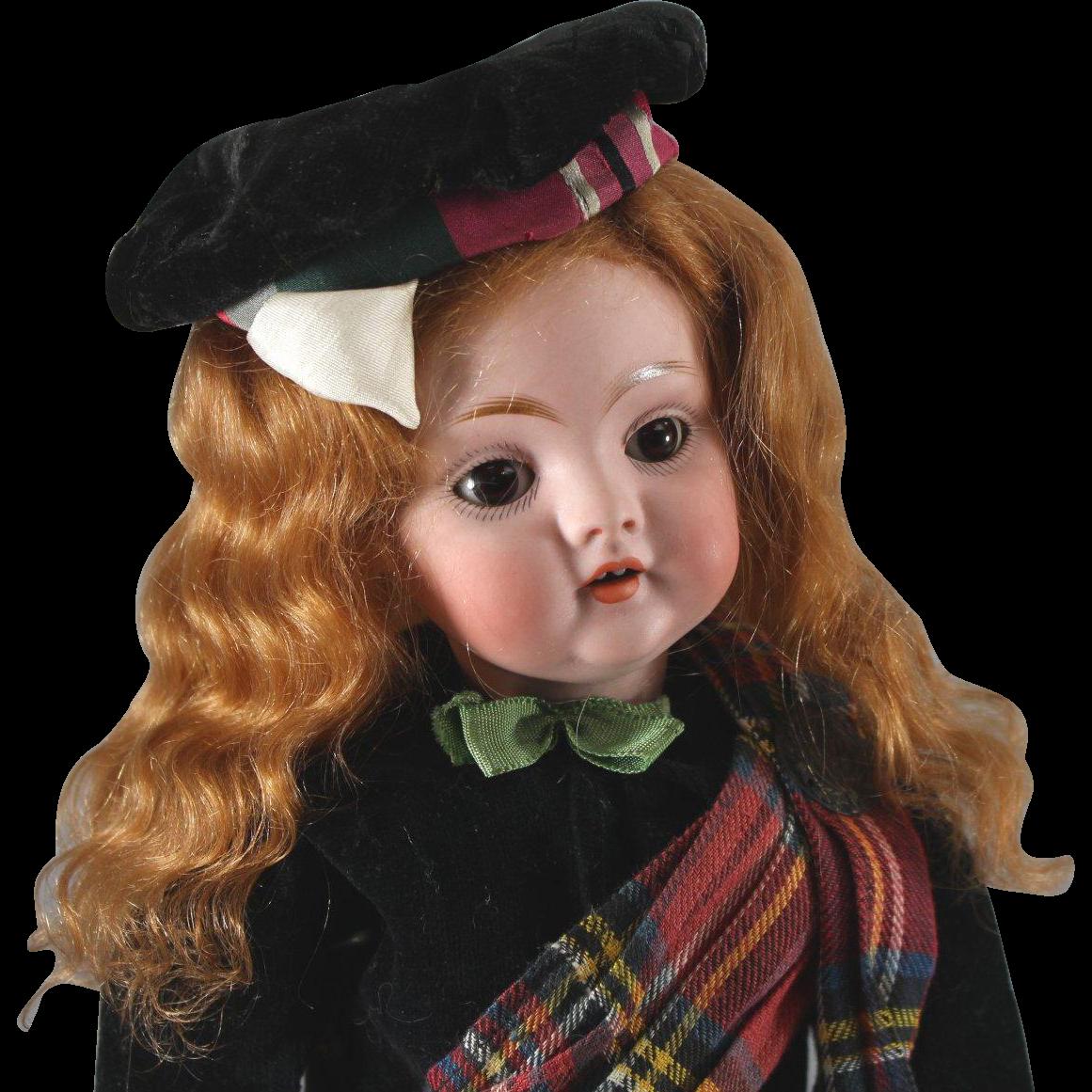 "Kestner #143 Scot Girl Doll Cabinet Size 12"" Gorgeous Redhead"
