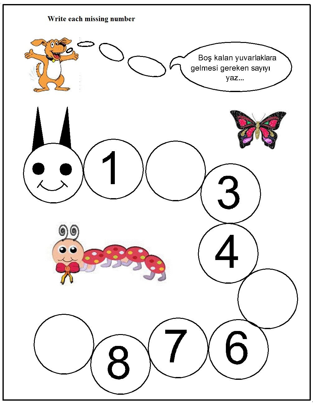 missing number worksheet for kids (5) Anaokulu