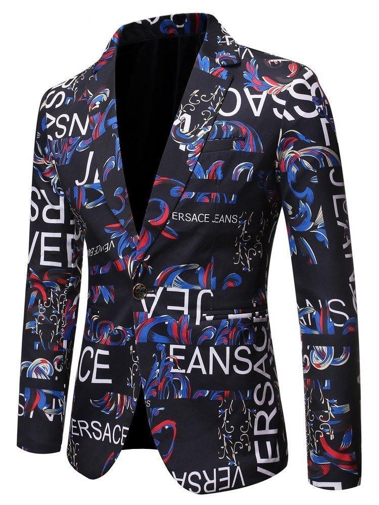 Men One Button Business Casual Floral Print Suit Blazer Coat Jacket