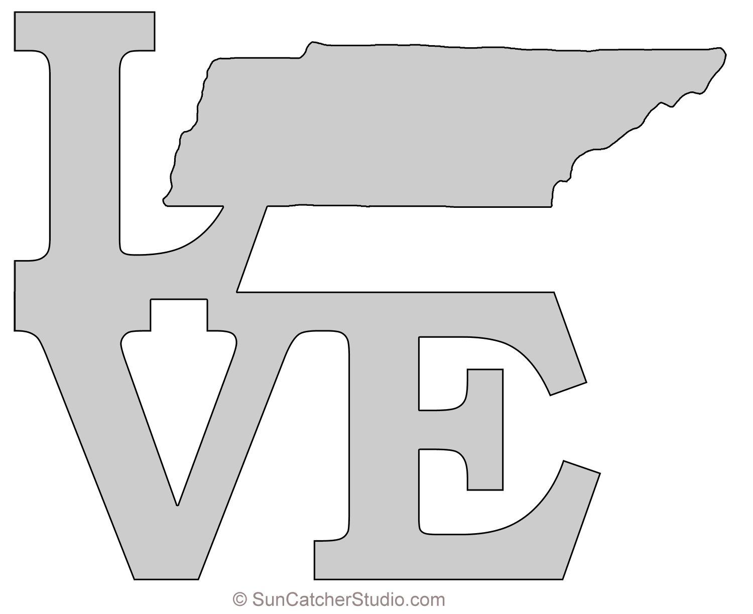 Tennessee Love Map Outline Scroll Saw Pattern Shape State Stencil Clip Art Printable Downloadable Free Templ Scroll Saw Patterns Free Map Outline Tennessee Map
