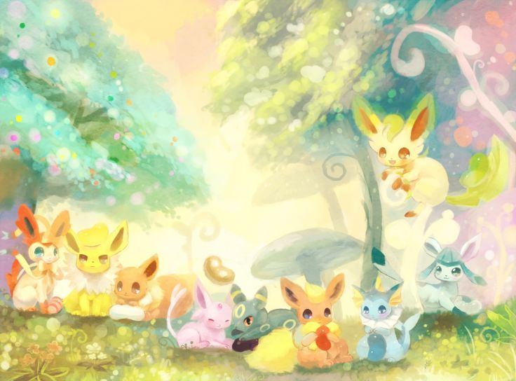 Pokemon Eevee Espeon Flareon Ginger Ale Glaceon Jolteon Leafeon Sylveon Umbreon Vaporeon Wallpaper Background