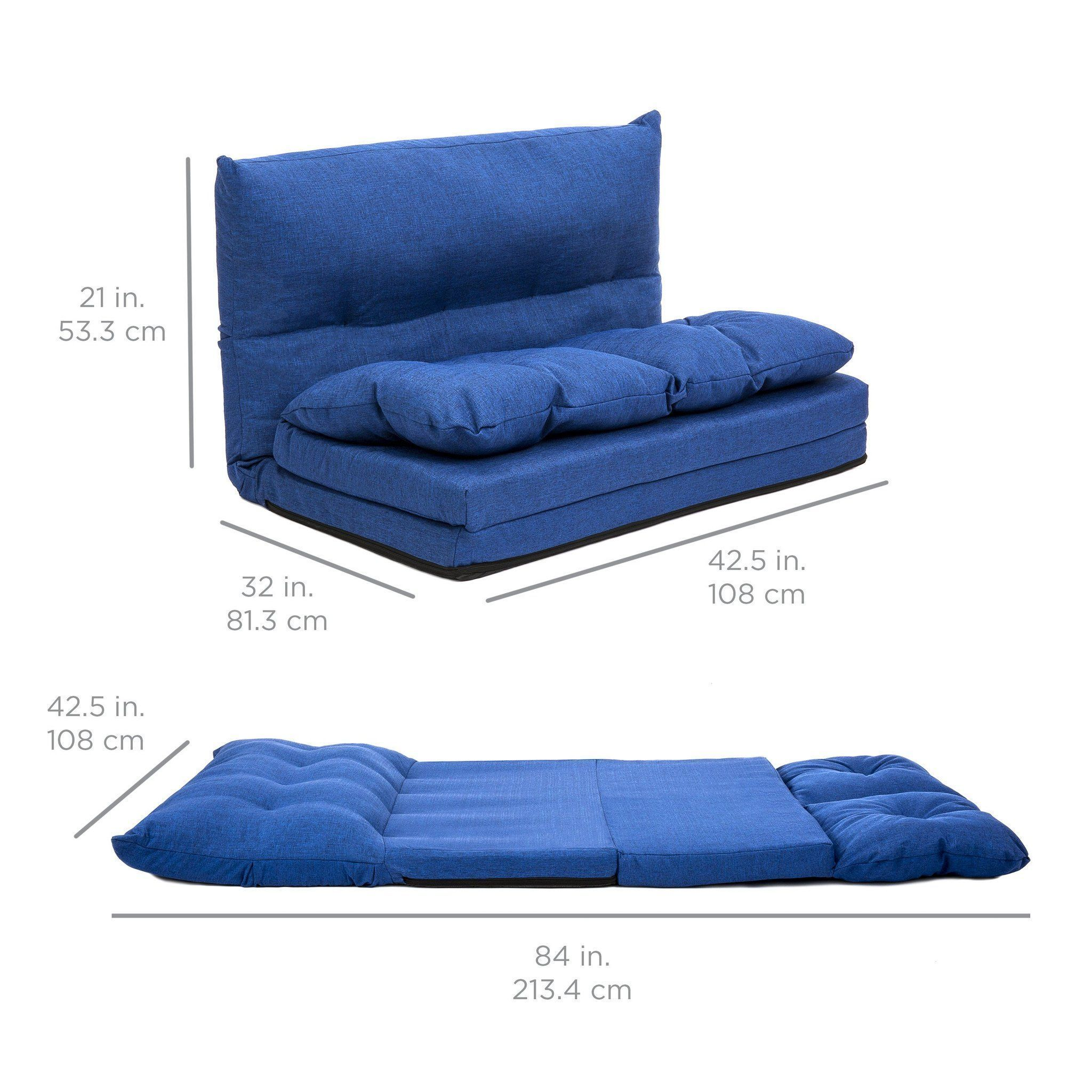 Foldable leather floor sofa bed gaming chair w two pillows blue