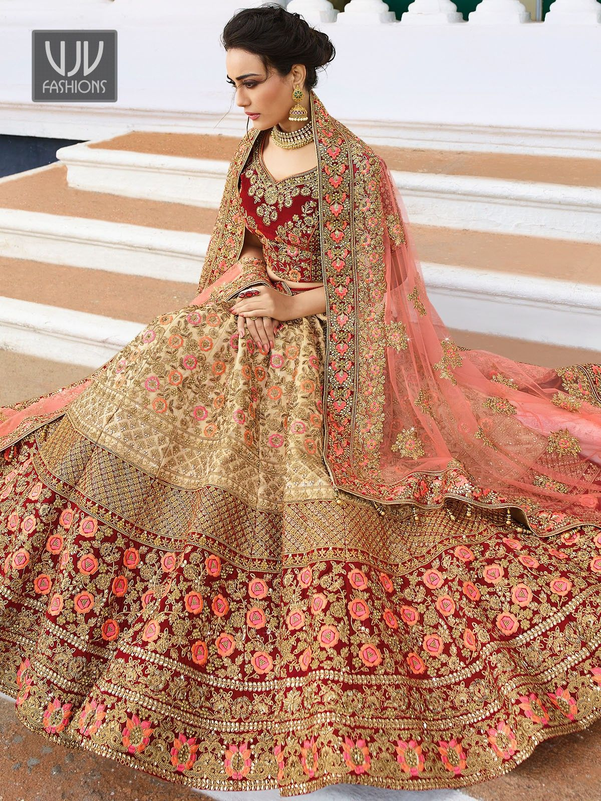66347f1a08 Fab Red And Beige Color Embroidered Lehenga Choli in 2019 | final ...