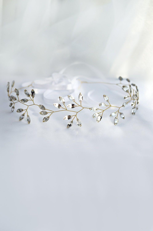 Bridal headband Crystal headpiece Crystal tiara Wedding hair ...