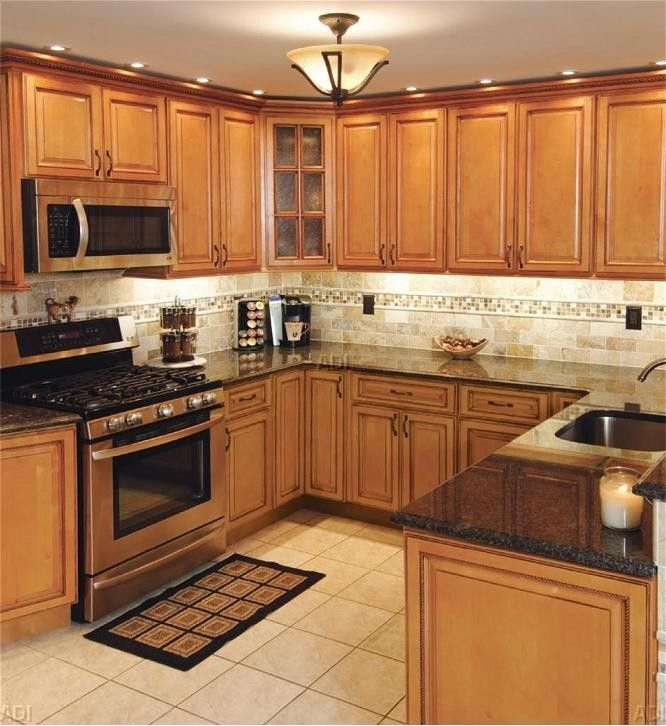 pictures of maple cabinets for kitchen | cheap kitchen islands on Galley Kitchen Lariat Maple ...