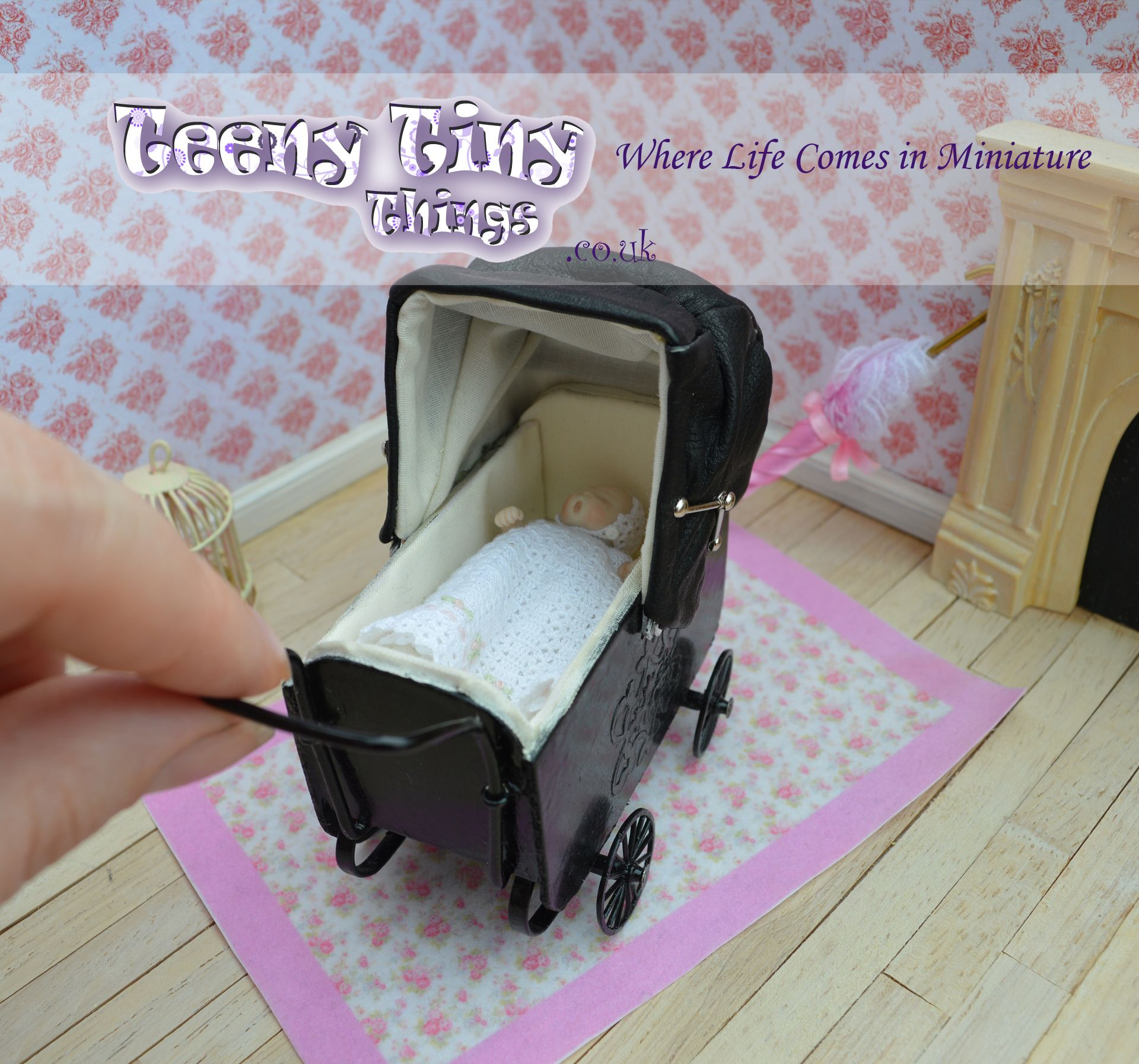 1 12th scale low slung period pram by Teeny Tiny Things