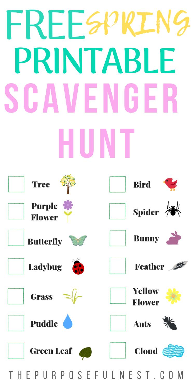 Free Printable Spring Scavenger Hunt For Kids Preschool Scavenger Hunt Scavenger Hunt For Kids Outdoor Scavenger Hunts