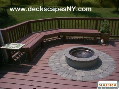 Elegant Deck Idea With Bench Seating Around A Fire Pit