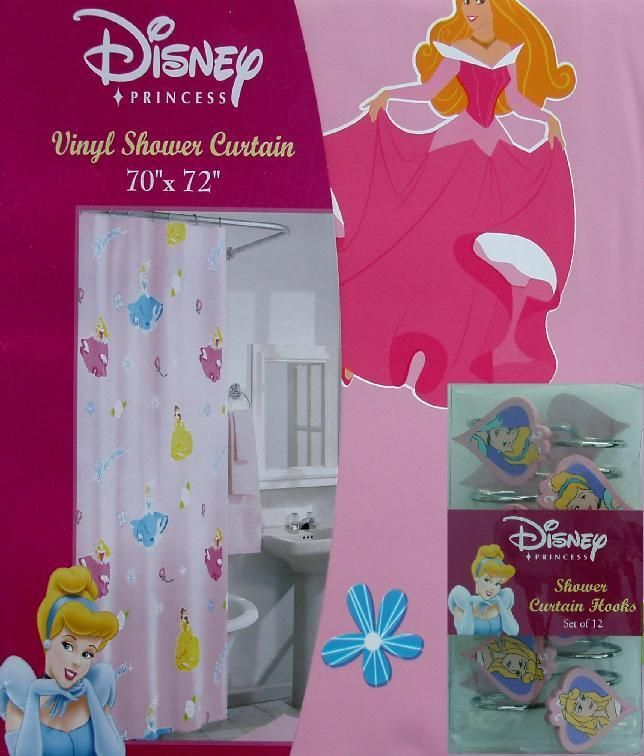 DISNEY PRINCESSES VINYL SHOWER CURTAIN 12 HOOKS BATHROOM SET NEW