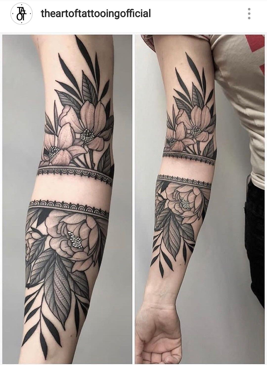 The lacey band and black leaves (With images) Forearm
