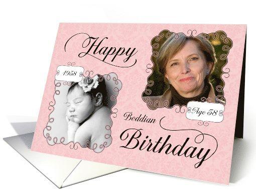 Beddian Birthday Born In 1960 Pink Damask Custom Photo Card Custom Photo Cards Photo Cards Birthday Greeting Cards