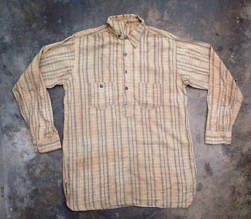 Vintage 20s 30s Work Shirt Chin-strap Pullover Sanforized Chambray ...