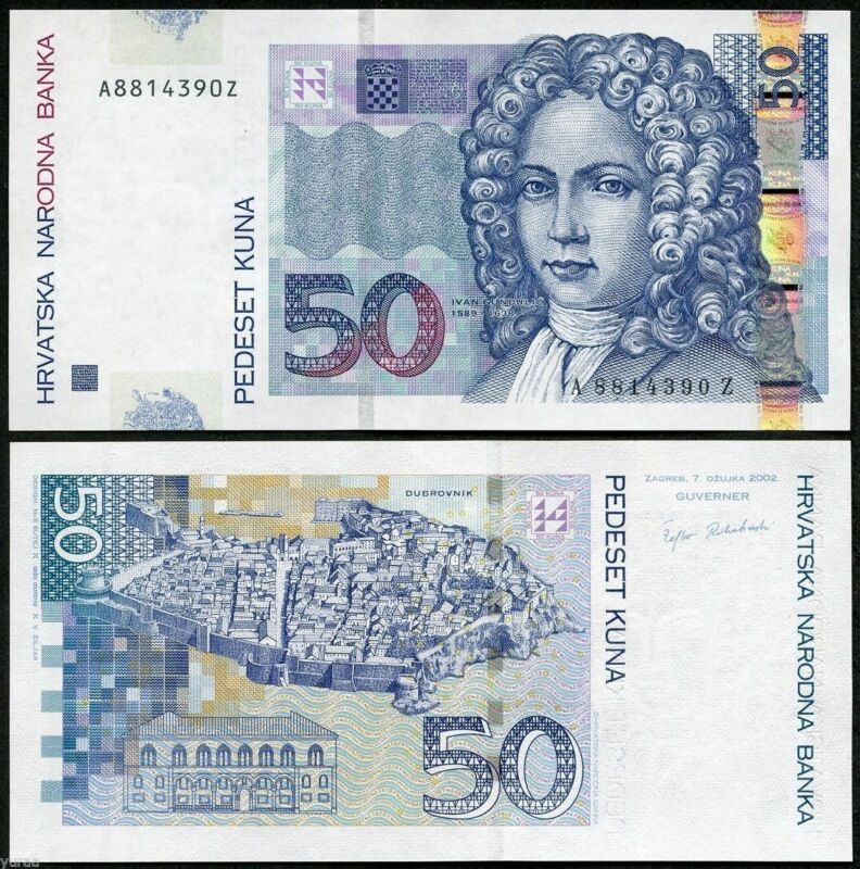 Croatia 50 Kuna 2012 Year Ivan Gundulic New Unc Gem Uncirculated Banknote Finance Money In 2020 Bank Notes Croatia Money Template