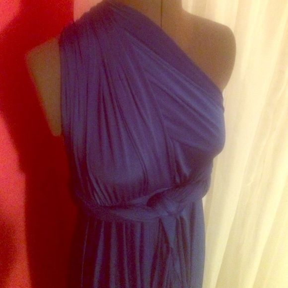 Royal Blue Tie Dress This non traditional dress can be tied in 100's of way for several different looks. The fabric is very forgiving and can show off or hide desired curves. Only worn once for a wedding!! Dessy Collection Dresses Maxi
