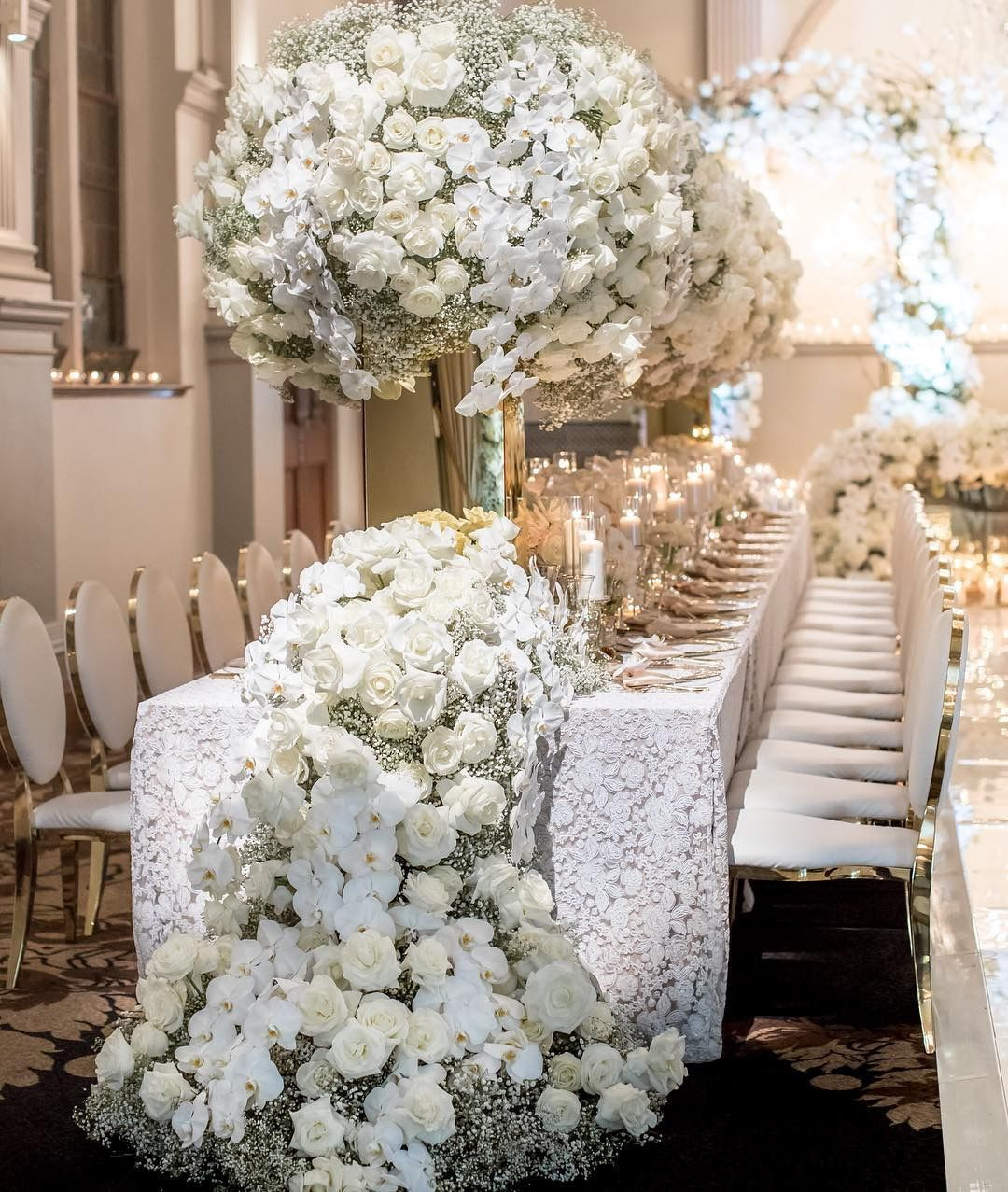 Luxury Wedding Floral Design With White Roses Orchids Baby S Breath Weddi Wedding Decor Inspiration Amazing Wedding Table Decorations Wedding Decorations