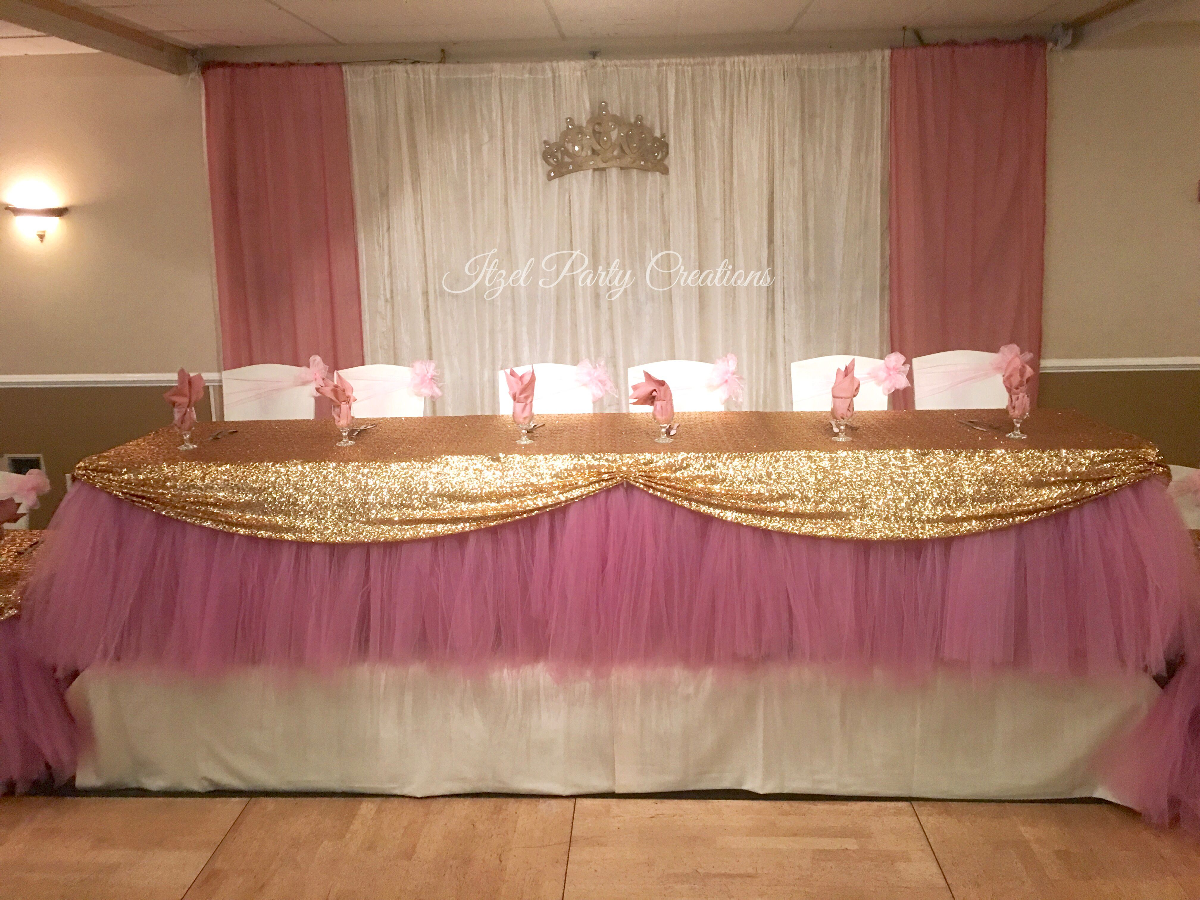 quincea era main table decor dusty rose and gold tutu table skirt quince decoration. Black Bedroom Furniture Sets. Home Design Ideas