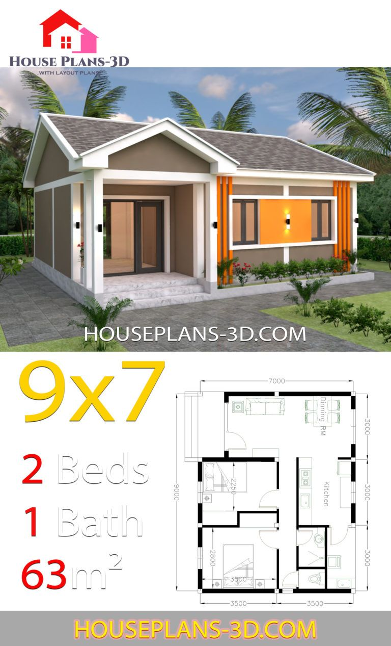 House Plans 9x7 With 2 Bedrooms Gable Roof House Plans 3d House Construction Plan Gable Roof House House Plans