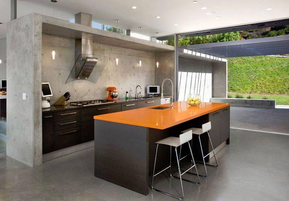 La textura y tono neutro del cemento son una oda al minimalismo y ...
