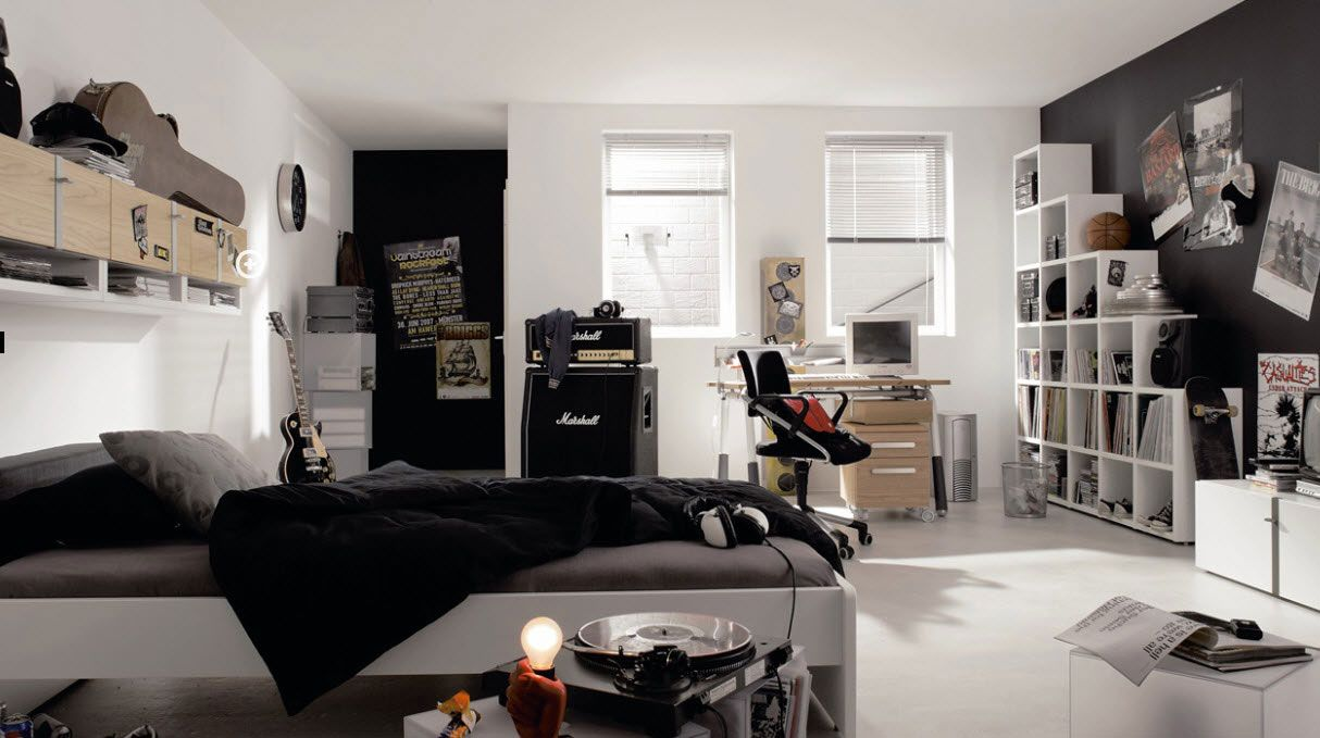 ... Teens Bedroom Design Ideas: Elegant Black And White Teenage Boys  Bedroom Design With Free Standing Bookshelf And Beautiful Bookshelf And  Minimalist Bed