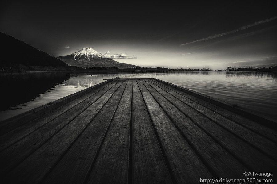 Fuji and pier by Akio Iwanaga
