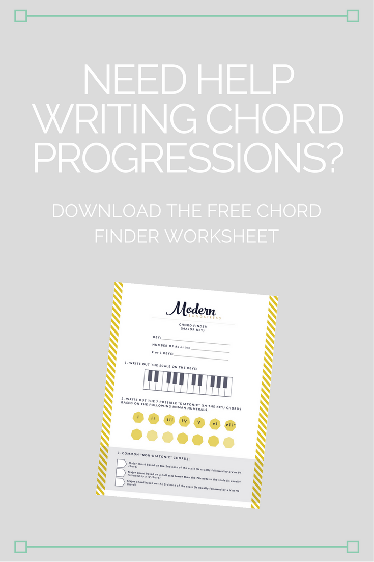 Free Chord Finder Worksheet to help you find the perfect