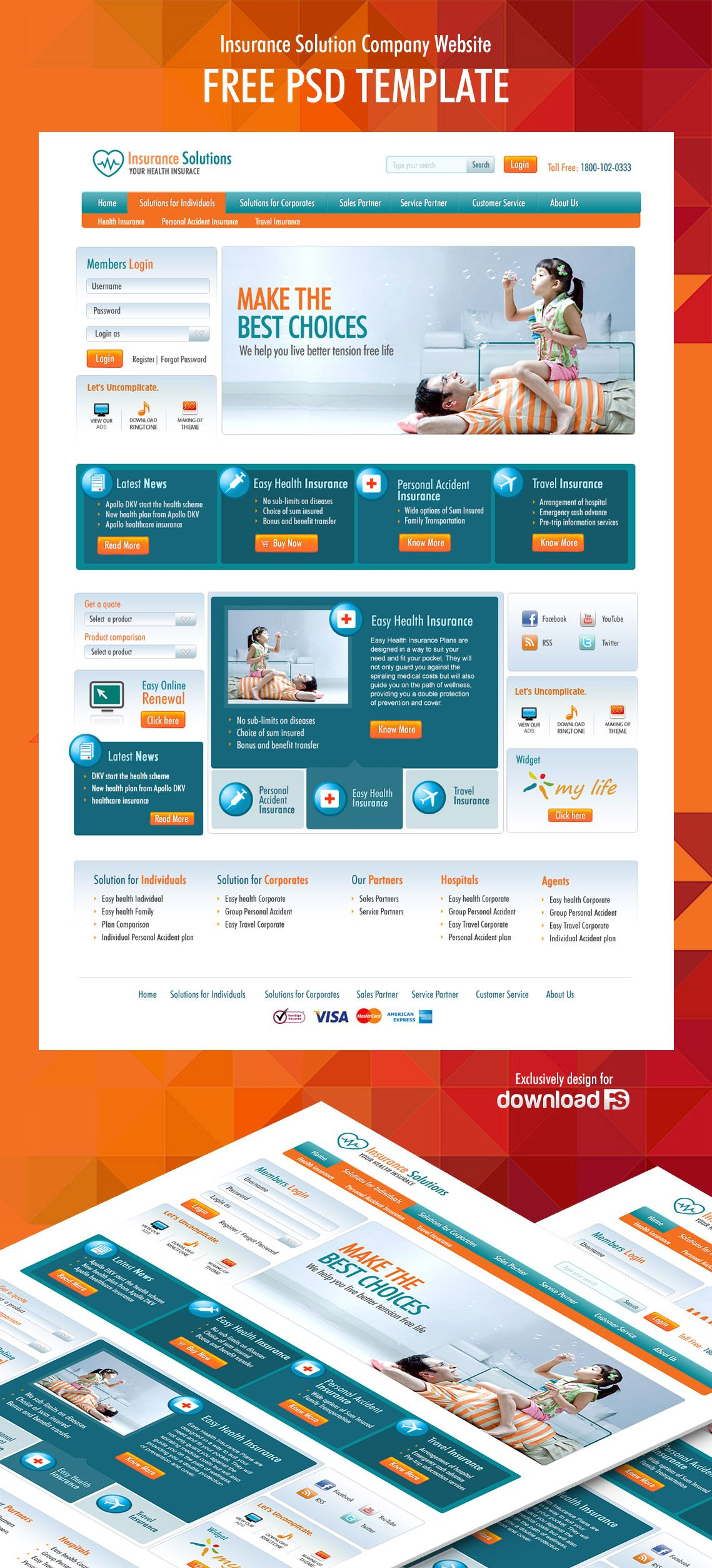 PDownload Insurance Solution Company Website Free Psd Template