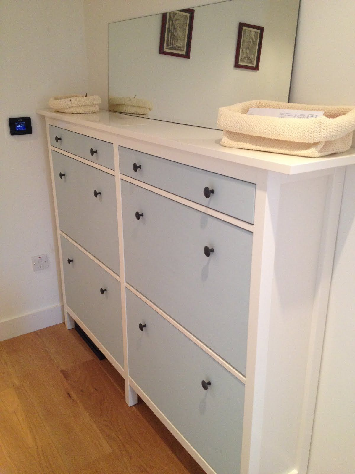 IKEA Hackers: Wedded Hemnes Shoe Cabinets [Twined And Painted]  Try Single  Painted In Gloss Tiffany Blue With Gold Knobs?