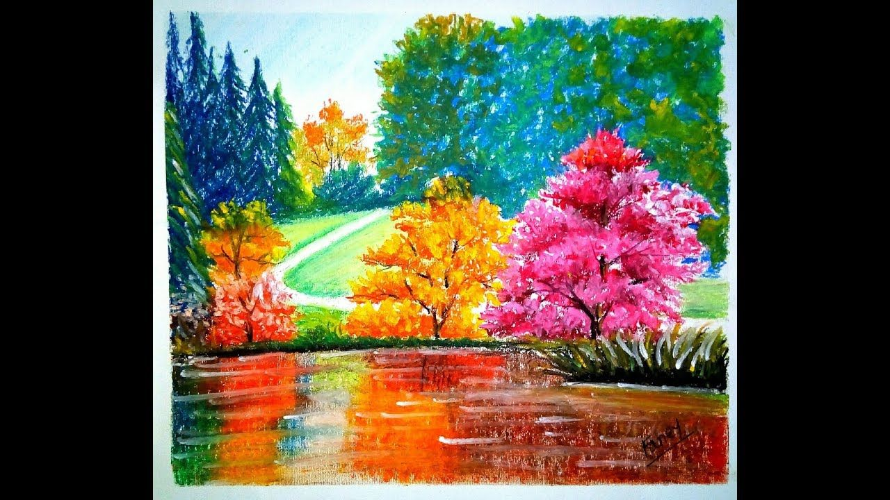 How To Draw A Landscape With Water Reflection By Oil Pastel Oil Pastel Paintings Fancy Art Oil Pastel