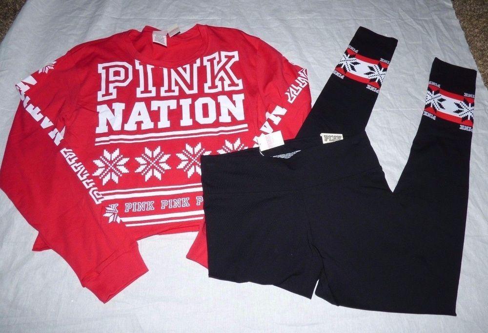 4566e37ca25c6 Victoria s Secret PINK Nation Campus Tee XS Leggings Small Set Holiday Red   VictoriasSecret  CropPantsArefulllength