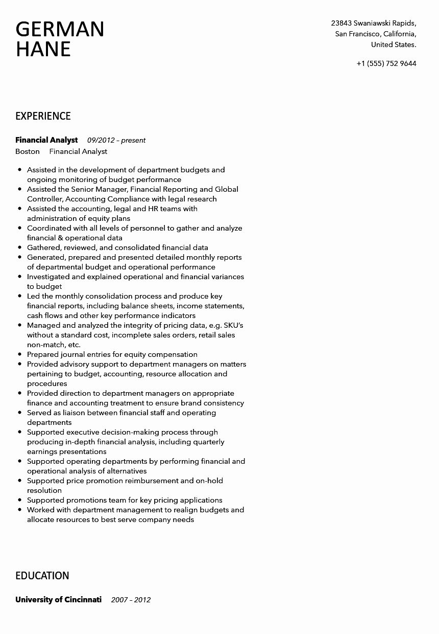 23 Financial Analyst Resume Examples In 2020