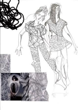 Fashion Sketchbook - fashion illustrations & texture research; fashion portfolio layout // Katie Percival