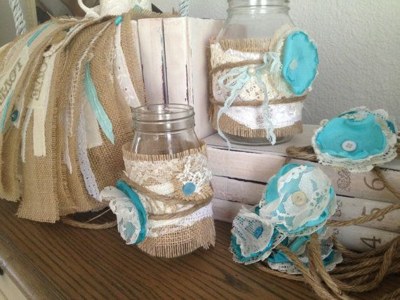 Rustic Wedding Decor For 10 Jars Centerpiece Tiffany Blue Burlap Mason Jar Diy Vintage
