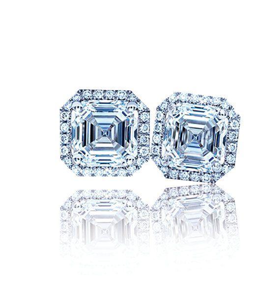 asscher diamond earrings   Ladies 1.20 Ctw Asscher Diamond Halo Earrings by CarpenterandCole ...