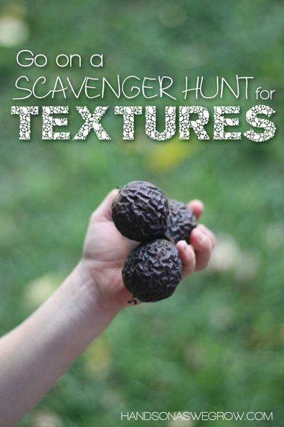 Explore Textures On An Outdoor Scavenger Hunt Outdoor Scavenger Hunts Activities For Kids