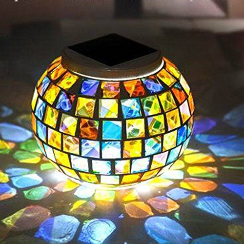 21 89 Xjamus Solar Table Lights Mosaic Glass Solar Led Garden Lights Color Changing Led Garden Lights Solar Led Garden Lights Led Outdoor Landscape Lighting
